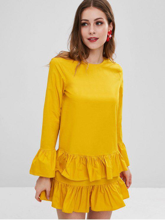 Babados reta vestido casual - Marrom Dourado M