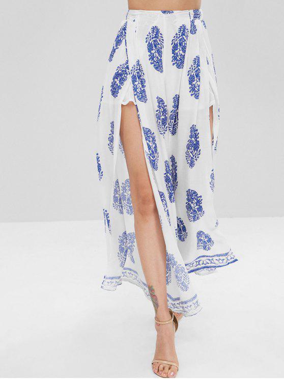 Calças de perna larga de fenda impressa - Branco L