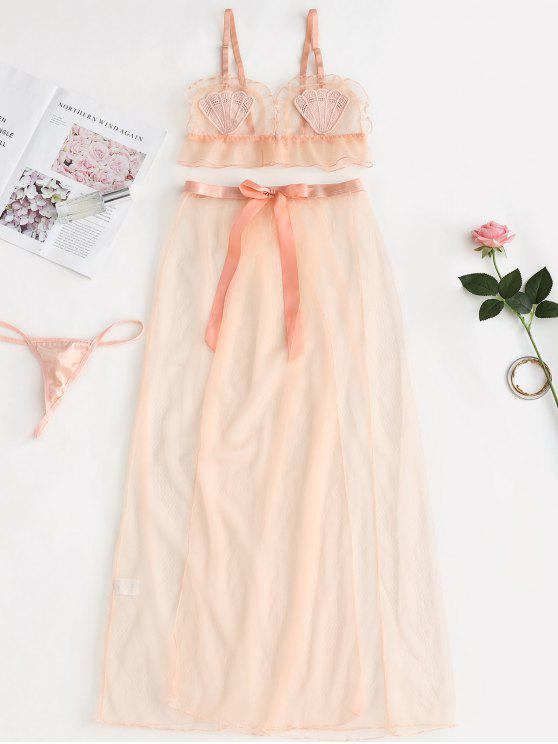 5665fbf54 Sutiã de renda e calcinha malha saia conjunto de lingerie - Damasco Um  Tamanho