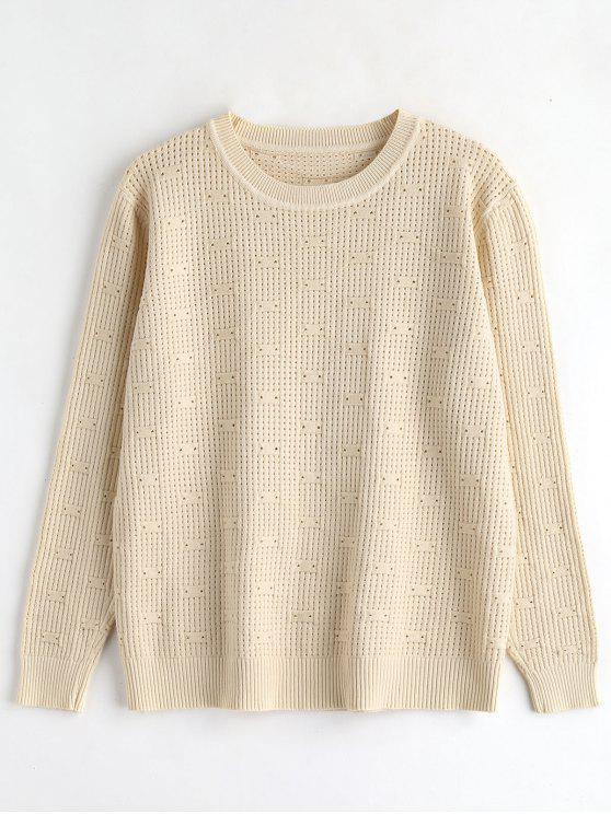 Suéter de jersey de punto perforado - Albaricoque Única Talla