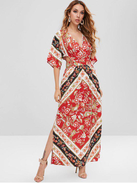Robe Florale à Manches Chauve-souris Ouvert au Dos - Rouge XL