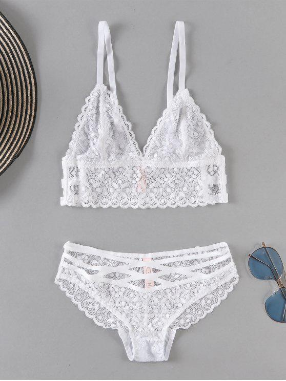 affordable Sheer Lace Bra and Panty Set - WHITE M
