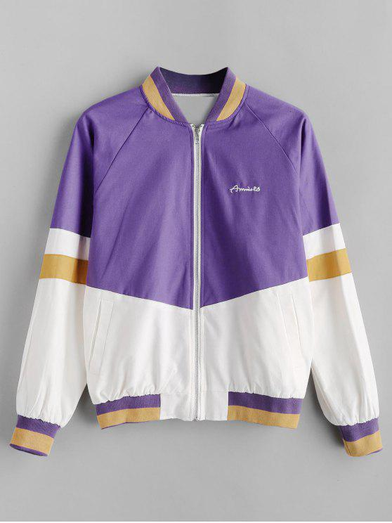 affordable Color Block Baseball Jacket - PURPLE S