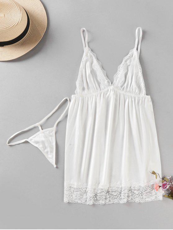 Conjunto de lencería de satén Babydoll Thong Panty - Blanco L