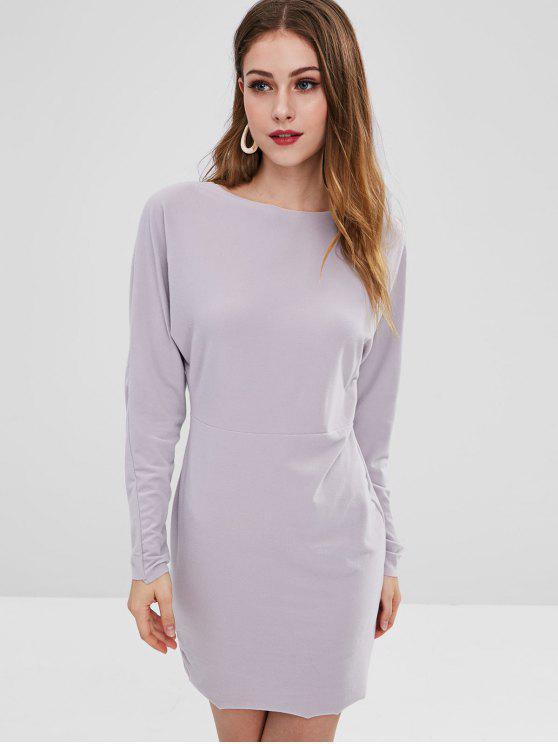 Vestido de manga larga de lana - Platino S