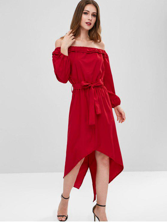 latest Off Shoulder Belted High Low Dress - RED WINE XL