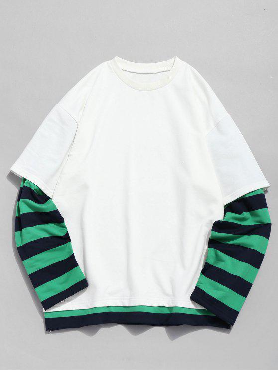 Striped Fake Two Piece Sweatshirt - Blanco XL