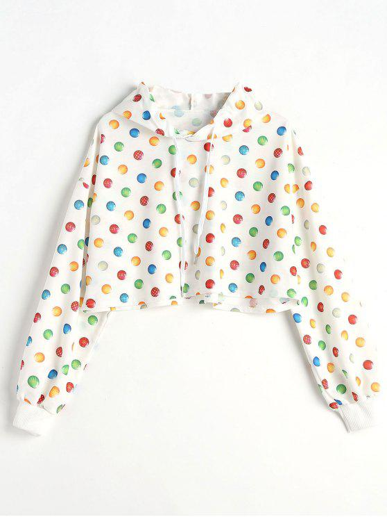 online Drop Shoulder Ball Print Crop Hoodie - WHITE L