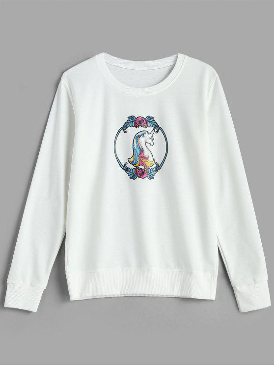 Felpa Pullover Floreale Con Stampa Cartoon - Bianco 2XL