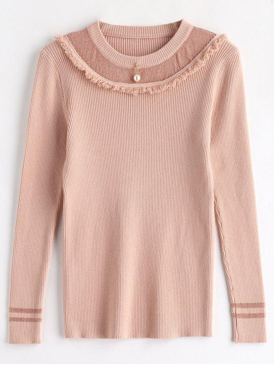 online Tassels Beaded Ribbed Knitwear - ROSE ONE SIZE