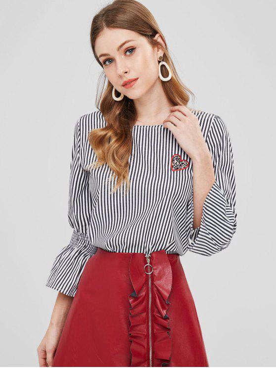 shop Slit Back Striped Heart Patch Top - MULTI M