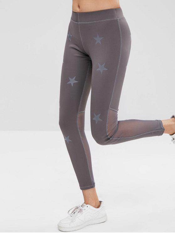 fancy Star Mesh Panel Sports Leggings - GRAY M