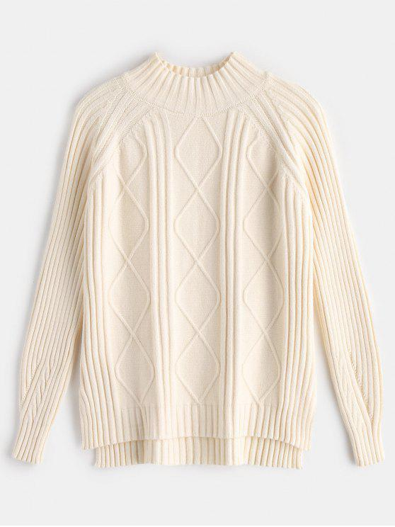 affordable Side Slit Cable Knit Sweater - CORNSILK ONE SIZE