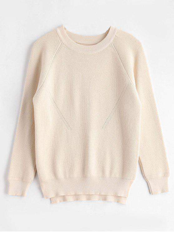 buy Raglan Sleeves Side Slit Sweater - CORNSILK ONE SIZE