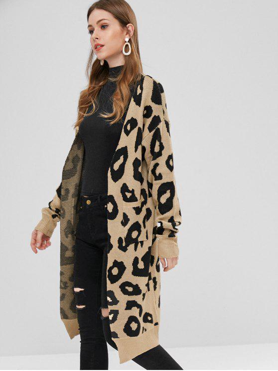 Cardigan Lungo Con Stampa Leopardata - Multi Colori S
