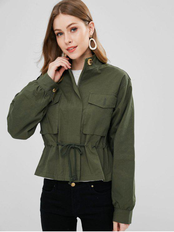 shops Pockets Zip Up Jacket - ARMY GREEN S