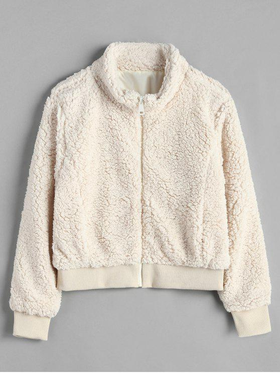 Zip Up Loser flauschiger Mantel - Beige L