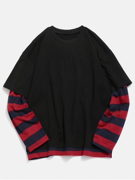 chic Striped False Two Piece Sweatshirt - BLACK M