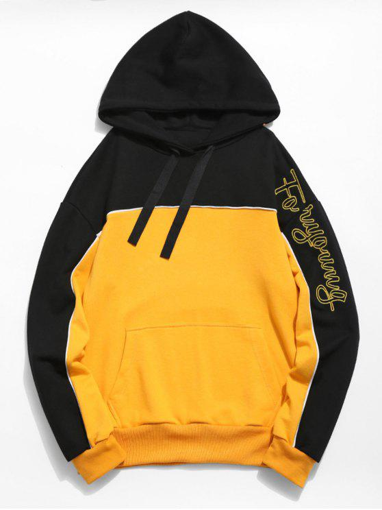 women's Embroidered Letter Color Block Hoodie - BEE YELLOW L