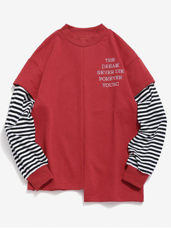 outfit Letter Striped Fake Two Piece Sweatshirt - RED XL