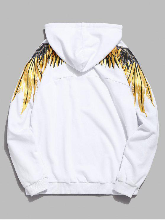 hot Shiny Wings Print Casual Hoodie - WHITE L