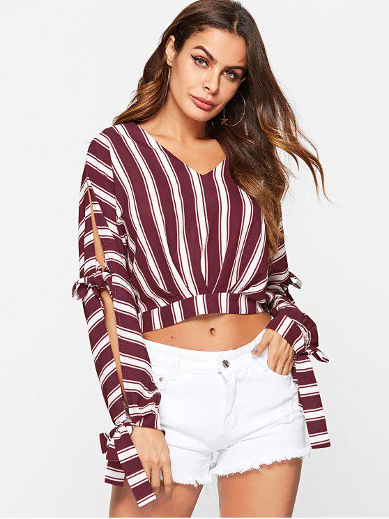 outfits ZAFUL Tie Split Sleeve Striped Flowing Blouse - RED WINE S