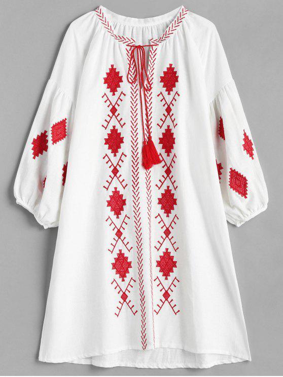 shops Ethnic Embroidery Drawstring Dress - MULTI L