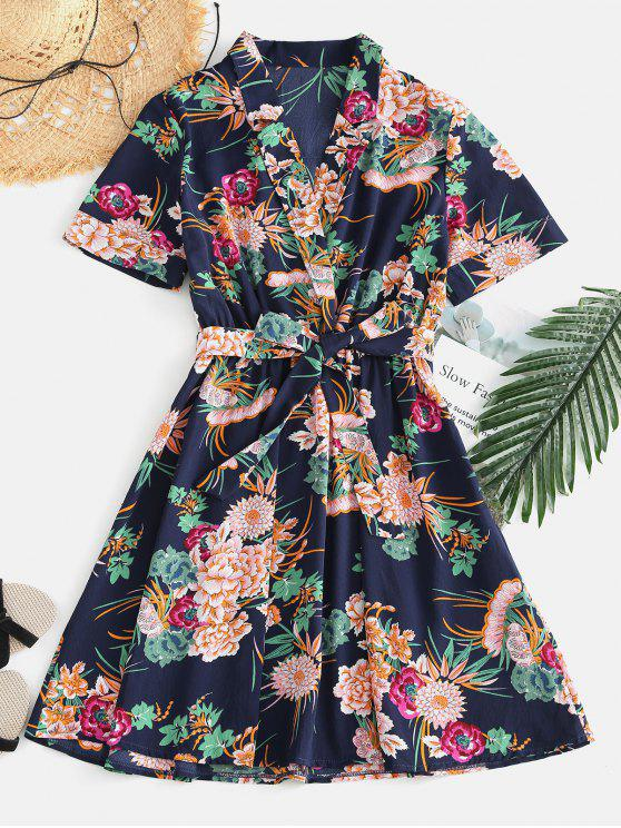 women's Flower Surplice Belted Dress - COBALT BLUE M