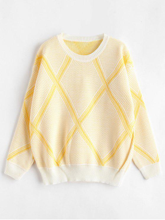 outfits Loose Geometric Graphic Sweater - YELLOW ONE SIZE