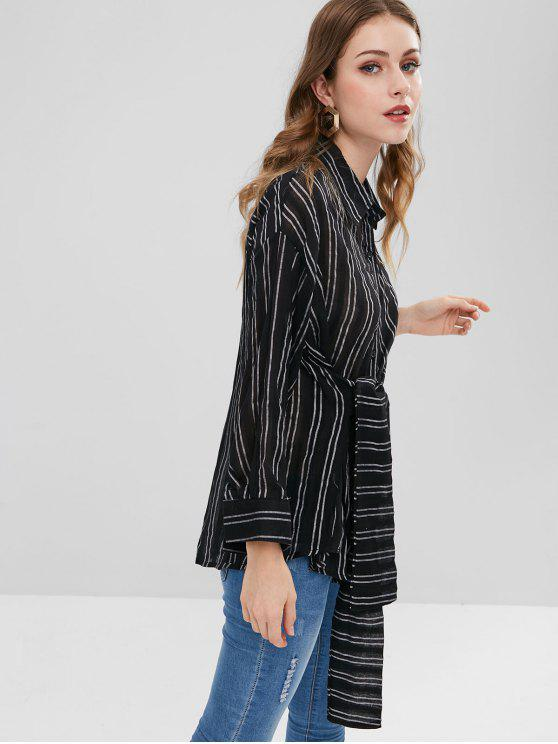 trendy Striped Bowknot Drop Shoulder Blouse - BLACK ONE SIZE