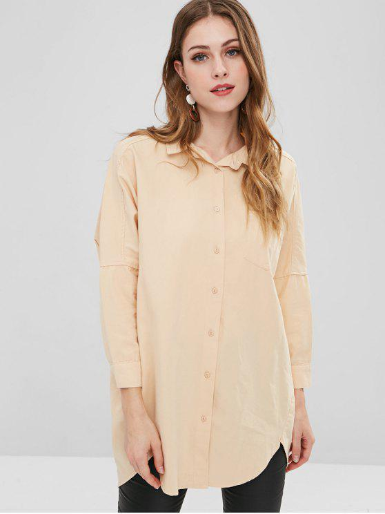 chic Graphic Batwing Longline Shirt - PEACH M