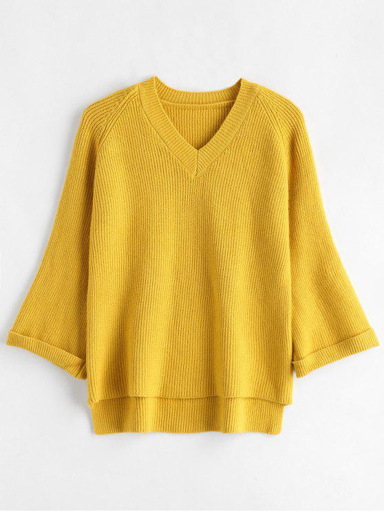 best Cuffed Sleeves High Low Sweater - YELLOW ONE SIZE