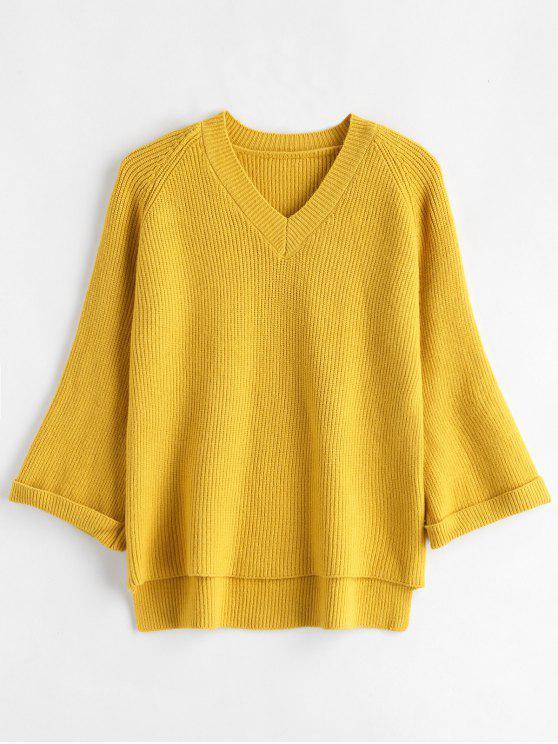Mangas con mangas alto suéter bajo - Amarillo Talla única