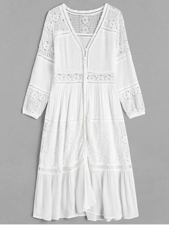 e23c48b14aed 35% OFF  2019 Lace Insert Mid Calf Dress In WHITE
