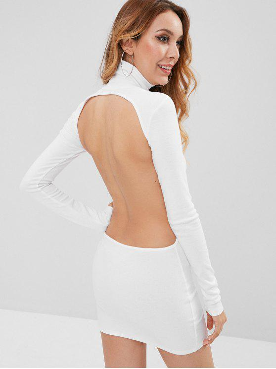 women Turtleneck Cut Out Ribbed Mini Bodycon Dress - WHITE L
