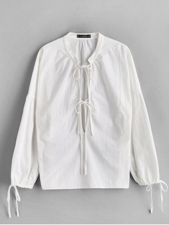 fashion ZAFUL Low Cut Tied Collar Blouse - WHITE S