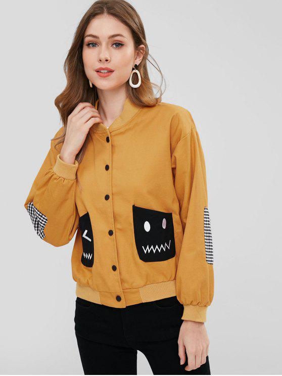 outfits Elbow Patch Drop Shoulder Pocket Jacket - SCHOOL BUS YELLOW XL