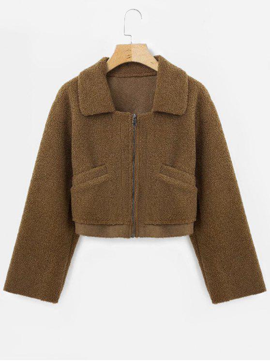fashion Suede Lining Faux Shearling Jacket - DARK GOLDENROD L