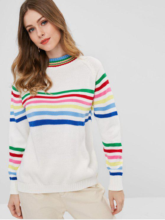 latest Colorful Striped Raglan Sleeve Sweater - MULTI ONE SIZE