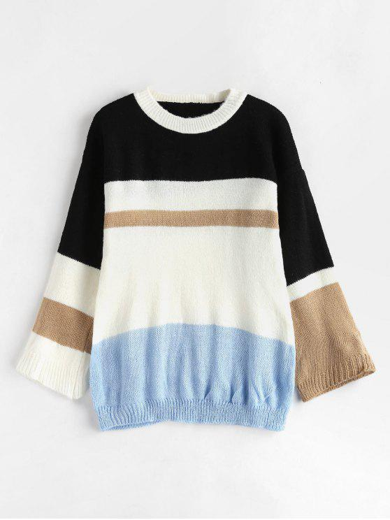 outfits Pullover Color Block Tunic Sweater - MULTI ONE SIZE