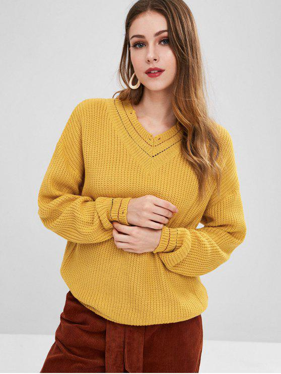 new Distressed V Neck Sweater - BRIGHT YELLOW ONE SIZE