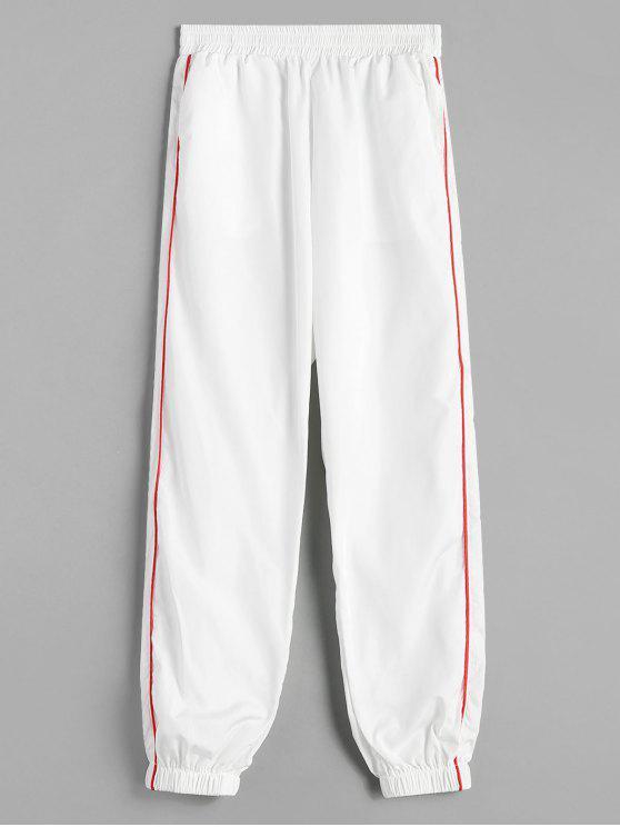 fancy Piping Jogger Pants - WHITE M