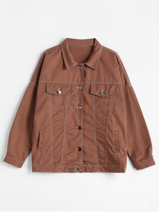new Multi Pockets Stitching Motorcycle Jacket - CHOCOLATE S