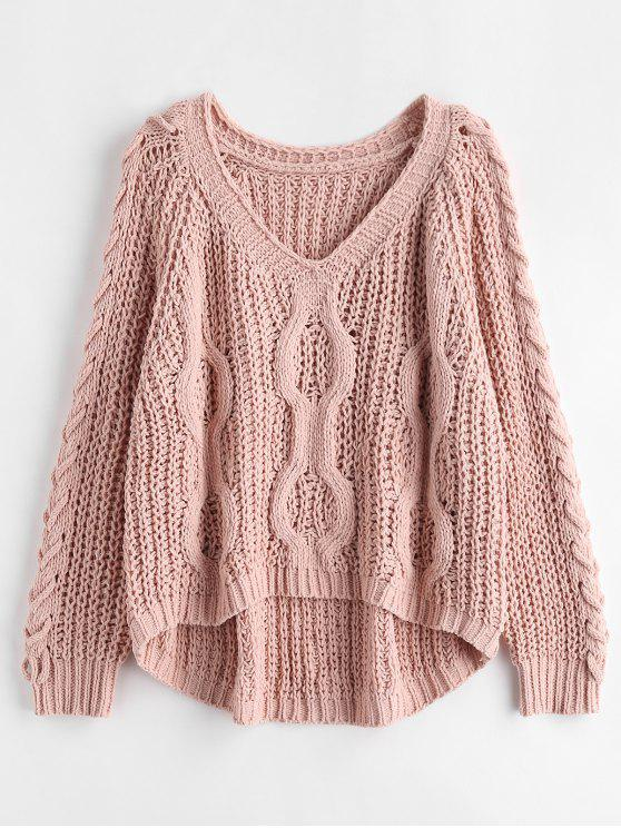 women's Lace-up Openwork Oversized Sweater - PINK BUBBLEGUM ONE SIZE