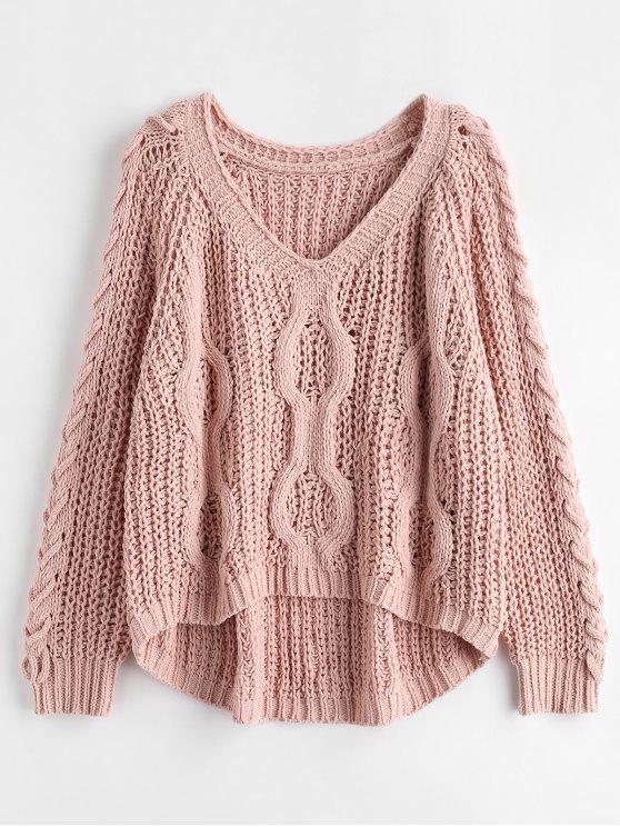 Oversized-Pullover mit Schnürung - Rosa Kaugummi Eine Größe