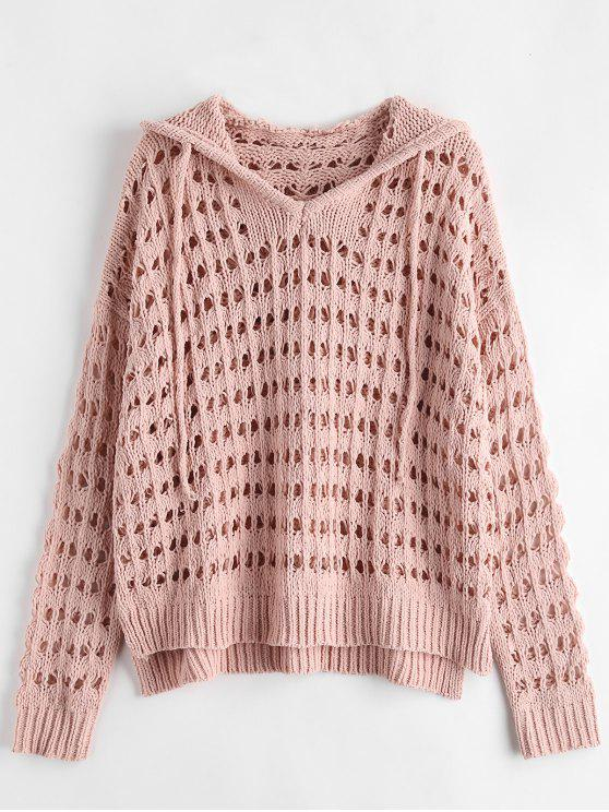 Fabulous 44% OFF] 2018 Open Knit Hooded Oversized Sweater In PINK BUBBLEGUM &EL86