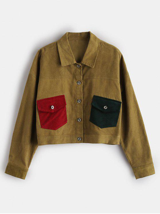 shop ZAFUL Button Up Corduroy Shirt Jacket - HARVEST YELLOW M