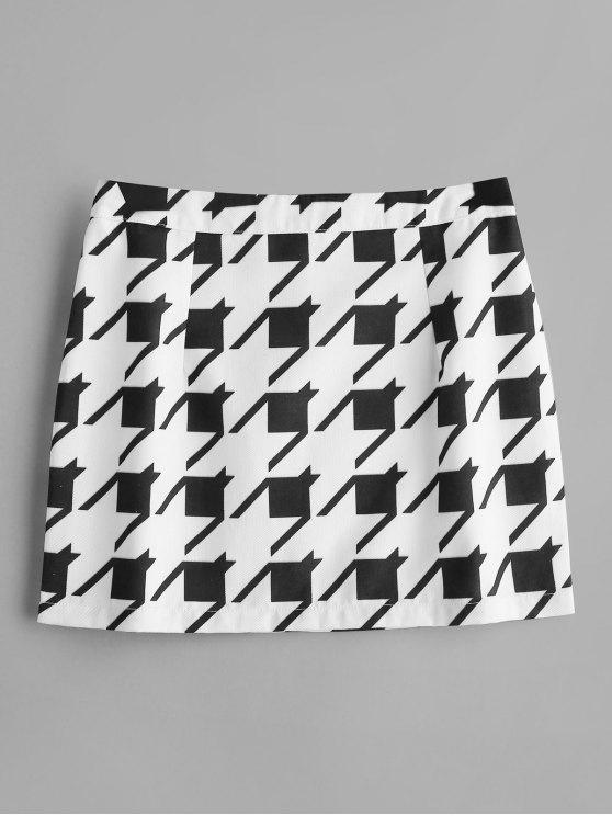women's ZAFUL Geometric Back Zipper Mini Skirt - WHITE M