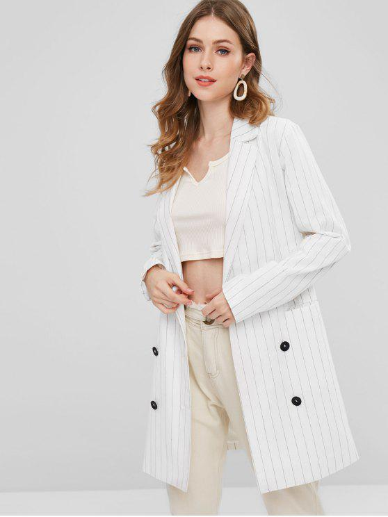 ZAFUL Double Breasted Stripe Tunika Blazer - Weiß M