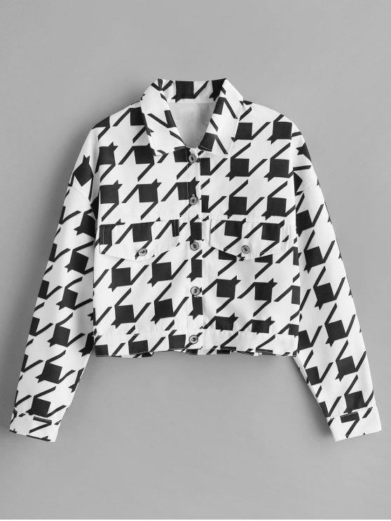 best ZAFUL Geometric Button Up Shirt Jacket - WHITE S